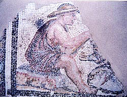 Fisherman (angler) in a mosaic from Thessaloniki