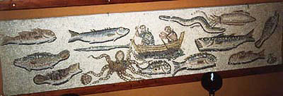 Harpoon fishing in a mosaic in Mytilene, House of Menander