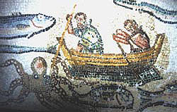 Older and younger fisherman in the mosaic in Mytilene
